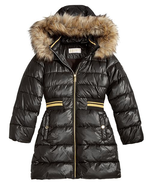 22fe303adbc71 ... Michael Kors Big Girls Hooded Metallic-Waist Jacket with Faux-Fur Trim  ...