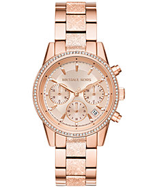 Michael Kors Women's Chronograph Ritz Rose Gold-Tone Stainless Steel Bracelet Watch 37mm
