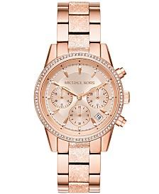 88f08a07ff86 Michael Kors Women s Chronograph Ritz Stainless Steel Bracelet Watch ...