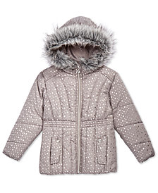 S. Rothschild Little Girls Printed Puffer Jacket with Faux-Fur Trim