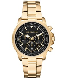 Michael Kors Men's Chronograph Theroux Gold-Tone Stainless Steel Bracelet Watch 42mm