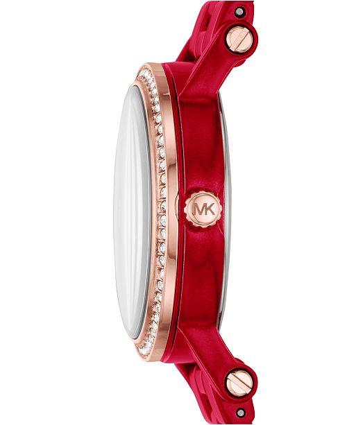 2e25561f2546 ... Michael Kors Women s Petite Norie Red Stainless Steel Bracelet Watch ...