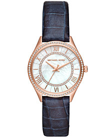 Michael Kors Women's Lauryn Navy Leather Strap Watch 33mm