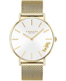 COACH Women's Perry Created for Macy's Gold-Tone Stainless Steel Mesh Bracelet Watch 36mm