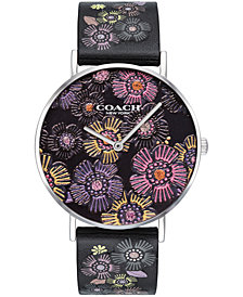 COACH Women's Perry Created for Macy's Black Floral Leather Strap Watch 36mm