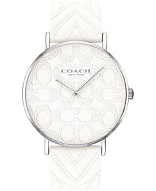 COACH Women's Perry White Silicone Strap Watch 36mm, Created for Macy's