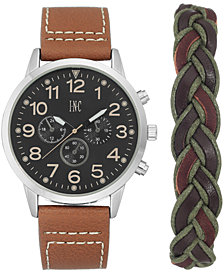 I.N.C. Men's Luggage Brown Faux Leather Strap Watch 45mm Gift Set, Created for Macy's