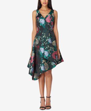 TAHARI ASL Floral Jacquard Draped Fit-And-Flare Dress in Green Pattern