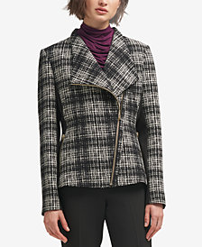 DKNY Asymmetrical Plaid Combo Jacket, Created for Macy's