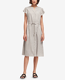 DKNY Shimmer-Stripe Flutter-Sleeve Dress, Created for Macy's