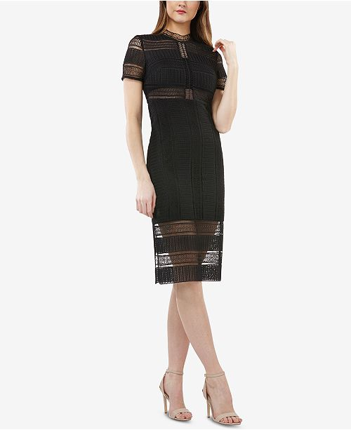 JS Collections Illusion Crocheted Sheath Dress