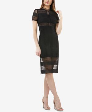 JS COLLECTIONS Graphic Lace Body-Con Cocktail Dress in Black