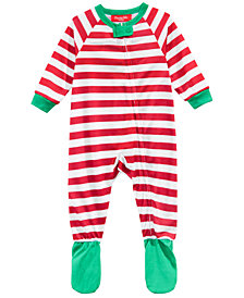 Matching Family Pajamas Infant Holiday Stripe Footed Pajamas, Created for Macy's