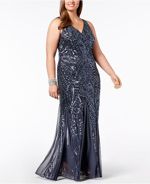 1b425d23b34 Nightway Plus Size Sequined Mesh Gown   Reviews - Dresses - Women ...