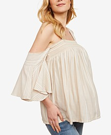 Maternity Smocked Off-The-Shoulder Blouse