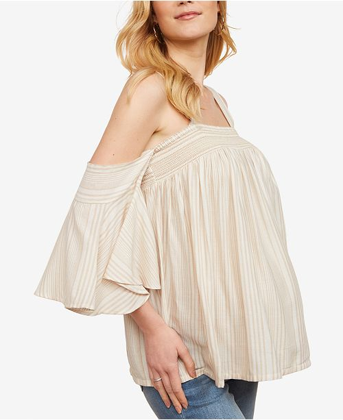 9027b56c69fd58 Jessica Simpson Maternity Smocked Off-The-Shoulder Blouse   Reviews ...