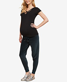 Maternity Under-Belly Velour Jogger Pants