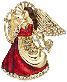 Holiday Lane Gold-Tone Crystal & Epoxy Angel Pin, Created for Macy's