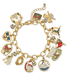 Holiday Lane Gold-Tone Crystal, Stone & Epoxy Twelve Days of Christmas Charm Bracelet, Created for Macy's