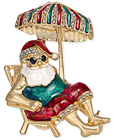 Holiday Lane Gold-Tone Crystal & Epoxy Santa on Vacation Pin, Created for Macy's