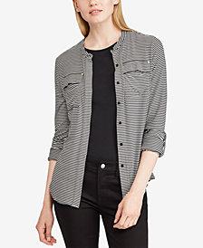 Lauren Ralph Lauren Buttoned Jersey Top