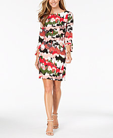 Nine West Printed Tie-Sleeve Shift Dress
