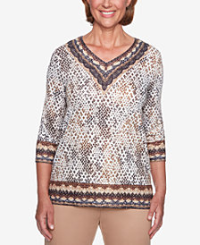 Alfred Dunner Travel Light Printed V-Neck Top
