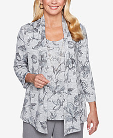 Alfred Dunner Smart Investments Floral-Print Layered-Look Necklace Top