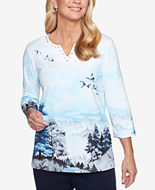 Alfred Dunner Classics Embellished Split-Neck Printed Top