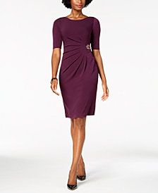 Jessica Howard Ruched Embellished Dress, Regular & Petite