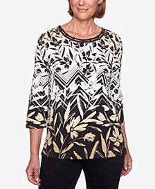 Alfred Dunner Petite Travel Light Printed Lattice-Neck Top