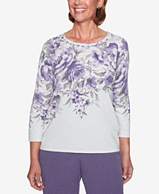 Alfred Dunner Petite Floral-Print Embellished Sweater
