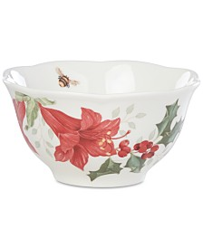 Lenox Butterfly Meadow Holiday  Rice Bowl  Amaryllis Design