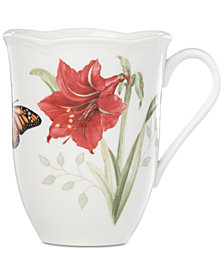 Lenox Butterfly Meadow Holiday Mug Amaryllis Design