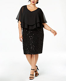 Alex Evenings Plus Size Ruffled Popover Dress