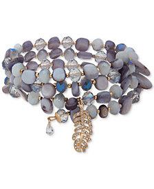lonna & lilly Gold-Tone Pavé, Stone & Bead Multi-Row Coil Bracelet