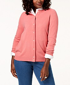 Petite Imitation Pearl-Button Cardigan, Created for Macy's