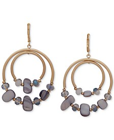 Gold-Tone & Stone Orbital Drop Hoop Earrings