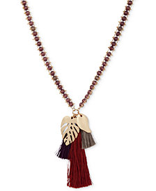 "lonna & lilly Gold-Tone Leaf & Tassel Beaded Pendant Necklace, 36"" + 3"" extender"
