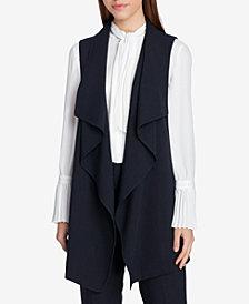 Tahari ASL Petite Draped Pinstripe Vest