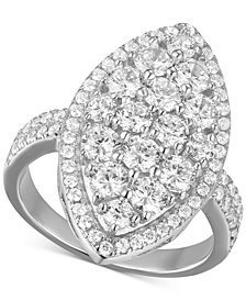 Cubic Zirconia Marquise Cluster Statement Ring in Sterling Silver