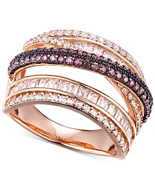 Cubic Zirconia Multi-Row Crossover Statement Ring in 14k Rose Gold-Plated Sterling Silver