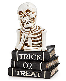 CLOSEOUT! Martha Stewart Collection Halloween LED Skull on Black Book Stack, Created for Macy's