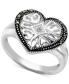 Marcasite & Crystal Filigree Heart Ring in Fine Silver Plate