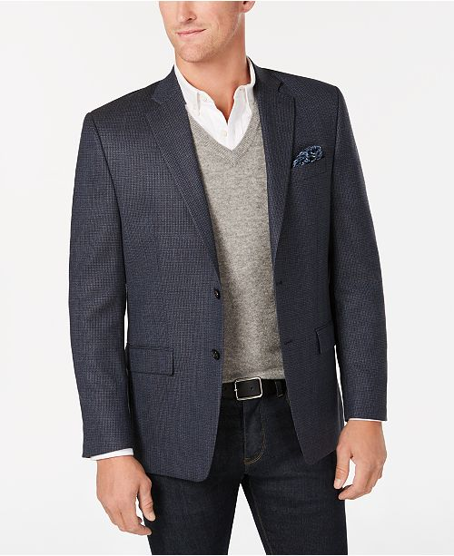 Lauren Ralph Lauren Men's Classic-Fit UltraFlex Blue Mini Check Wool Sport Coat