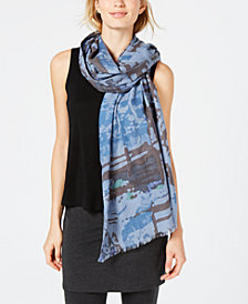 Eileen Fisher Printed Fringe-Trim Scarf