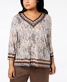 Alfred Dunner Plus Size Travel Light Printed Top