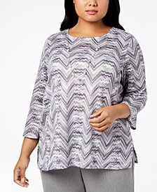 Alfred Dunner Plus Size Necklace Top
