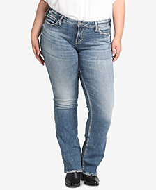 Silver Jeans Co. Plus Size Suki Distressted Curvy-Fit Slim Boot-Cut Jeans