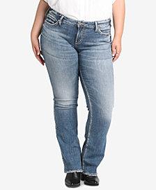 Silver Jeans Co. Plus Size Suki Distressted Curvy-Fit Slim Boot-Cut Jeans